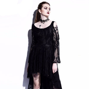 Gothic Asymmetrical Black Dress