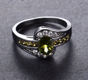 August Birthstone Oval Ring
