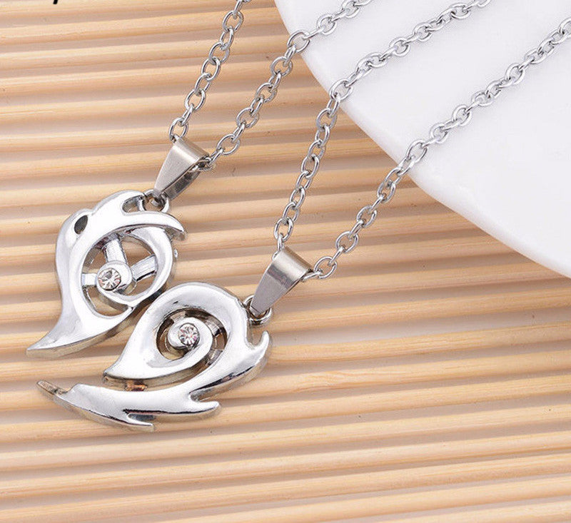 2 pcs/lot Love Heart Pendant Necklaces