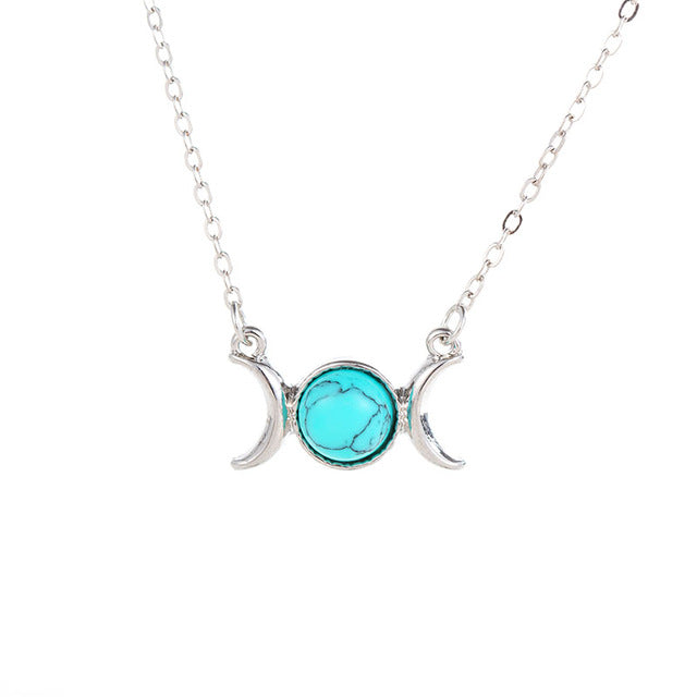 Triple moon goddess necklace mofotee inc triple moon goddess necklace mozeypictures Image collections