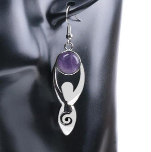 Wicca Goddess Natural Stone Earrings