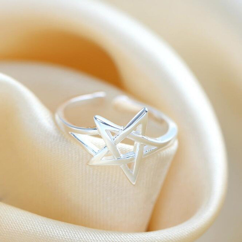 Sterling Silver Hollow Star Opening Ring