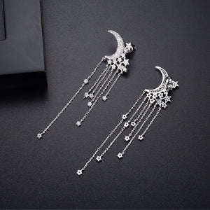 Moon and Stars Tassel Drop Earrings