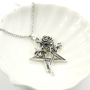 Wicca Pentagram Rose Necklace