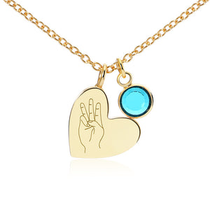 A-Z Letters Sign language Necklace