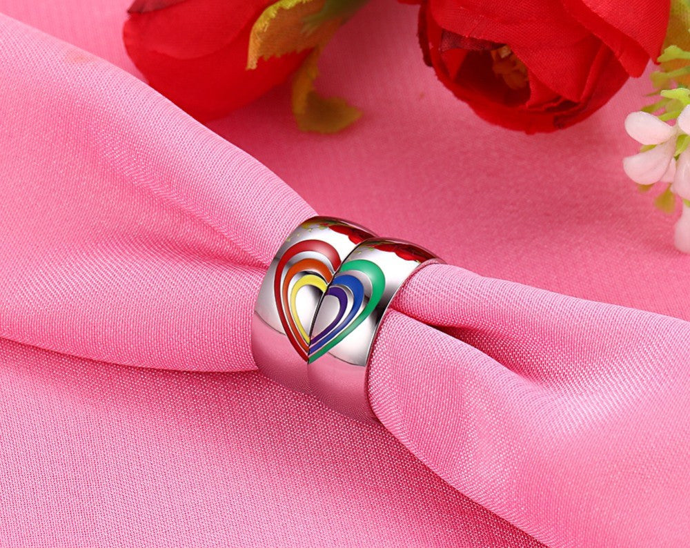 Heart Rainbow Ring Gay and Lesbian LGBT Pride Wedding Rings Unique