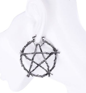 Wicca Pentagram Silver Earrings