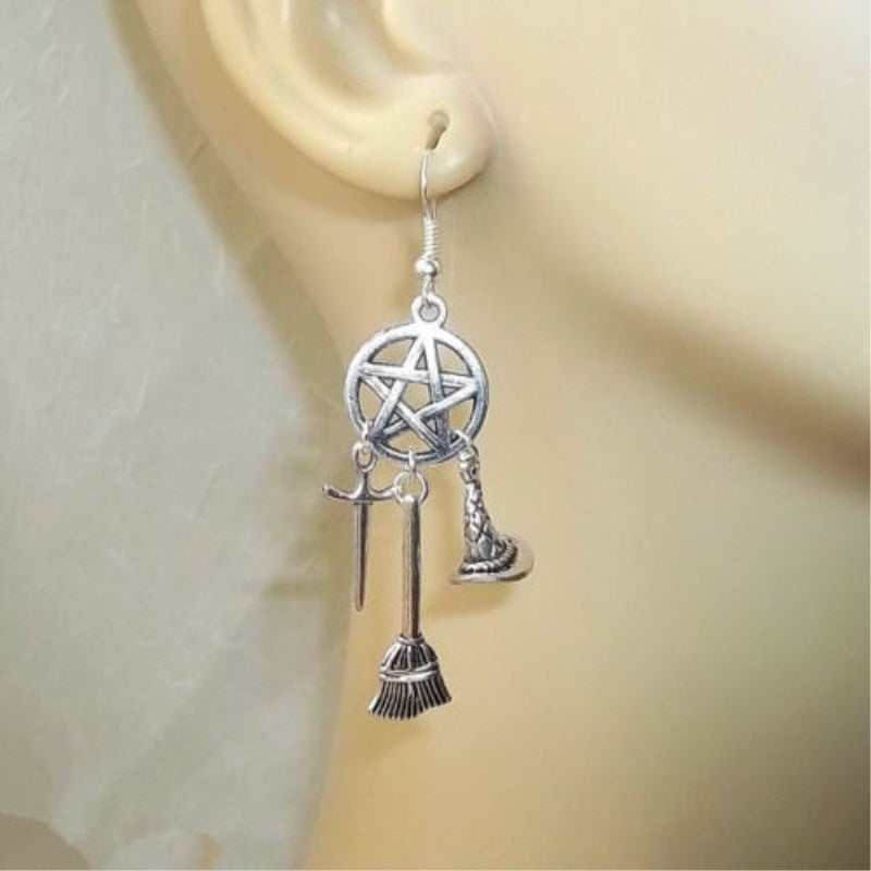 Wicca Witch Silver Earrings