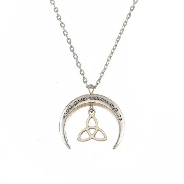Silver Triquetra Knot Moon Necklace
