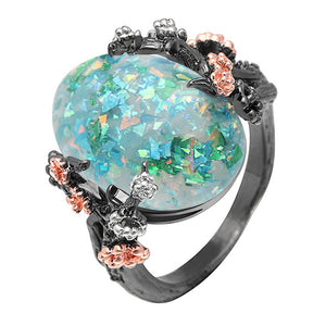 Beautiful Tree Flower Opal Ring