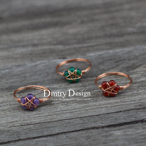 Wicca Natural Stone Pentagram Rings