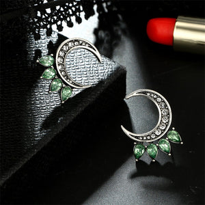 Wicca Moon Green Crystal Earrings