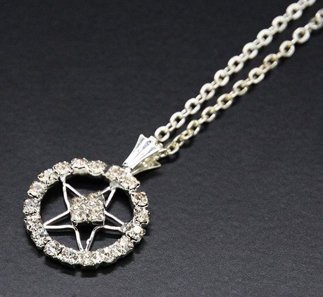Wicca Pentagram Crystal Necklace