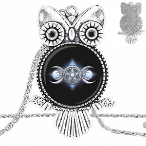 Triple Moon Goddess Owl Necklace
