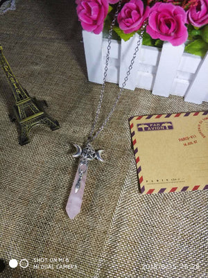 ROSE QUARTZ POINT TRIPLE MOON GODDESS WICCA NECKLACE