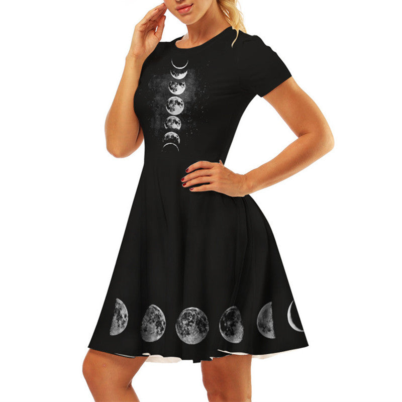 Wicca Moon Phase Black Dresses