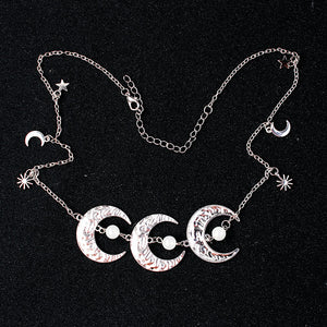 Wicca Pentagram Moon Hair Chain