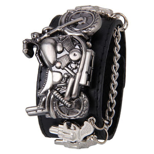 Attractive Synthetic Leather and Stainless Steel Punk Rock Chain Skull Band Unisex Bracelet Cuff Gothic Wrist Watch