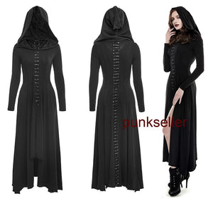 Dark Arts Women Fashion Dress Long Black Hooded Gothic Witch