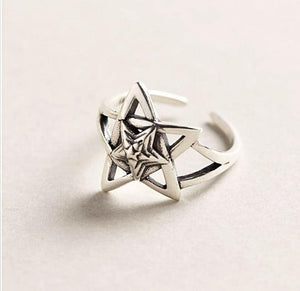 Wicca Pentagram Sterling Silver Ring
