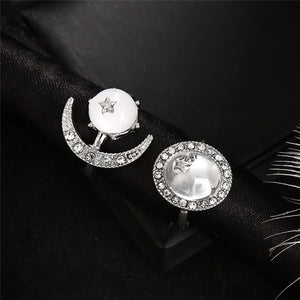 Wicca Moon Star Crystal Rings 2Pcs/set