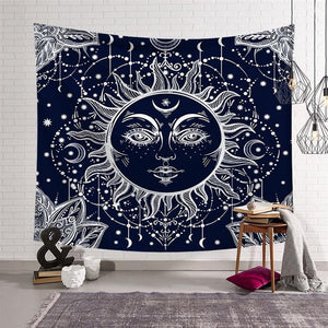 Wicca Sun Moon Star Tapestry