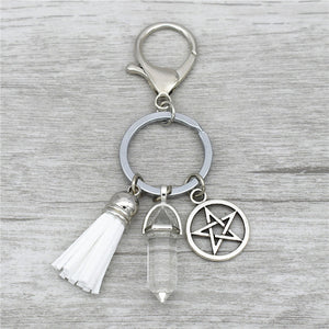 Natural Stone Wicca Pentagram Keychains