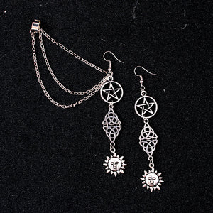 Sun Moon Pentagram Earrings