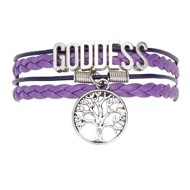 Goddess Pagan Wicca Leather Bracelet