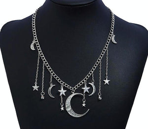 Crystal Moon Star Wicca Necklace