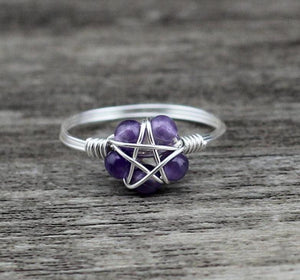 Handmade Wicca Pentagram Natural Stone Ring