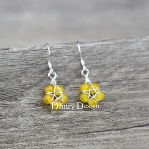 Handmade Wicca Pentagram Natural Stone Earrings