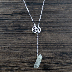Wiccan Pentagram Crystal Necklace
