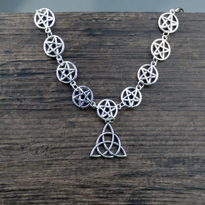 Wiccan Multi Pentagram Necklace