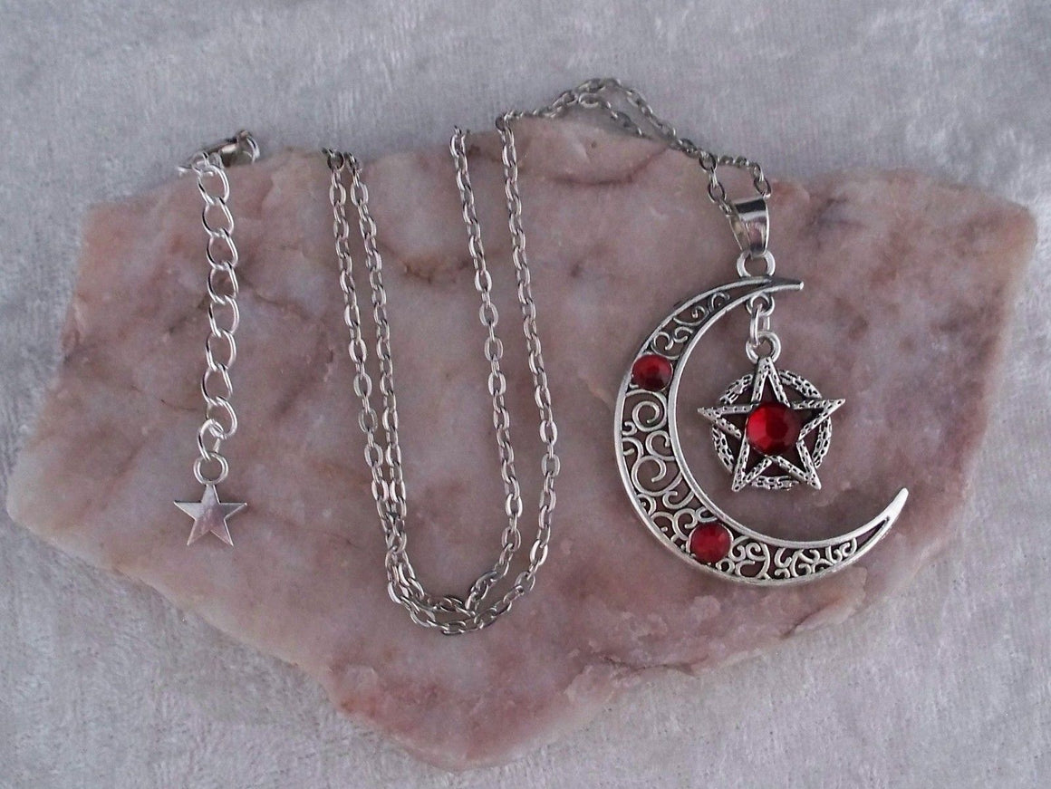 Wicca moon pentacle necklace