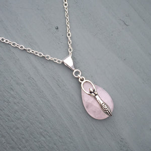 ROSE QUARTZ GODDESS WICCA NECKLACE