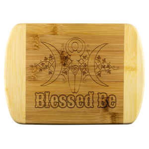 Blessed Be Round Edge Wood Cutting Board