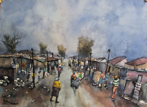 Township Scene by Alphen Ntimbane