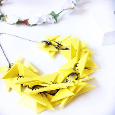 Yellow Triangles Necklace Light Weight and Soft with Earrings