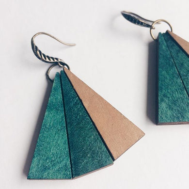 Dark Green Wood Triangles Earrings