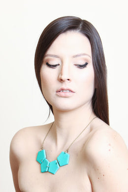 Pentagon Geometric Necklace Turquoise with Earrings