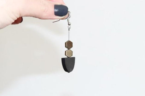 Drop Earrings Hematite and Wood (Black)