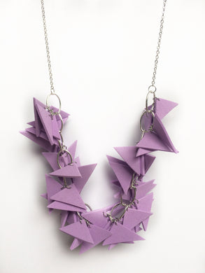 Triangles Necklace Light Weight and Soft with Earrings (Lilac)