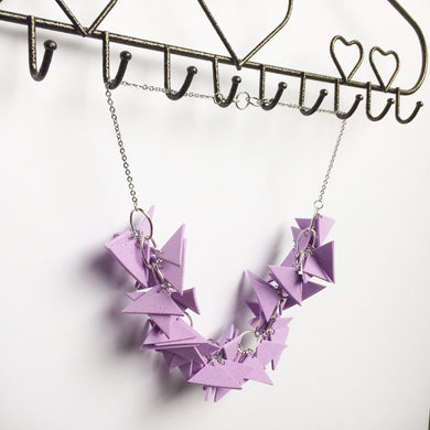 Lilac Triangles Necklace Light Weight