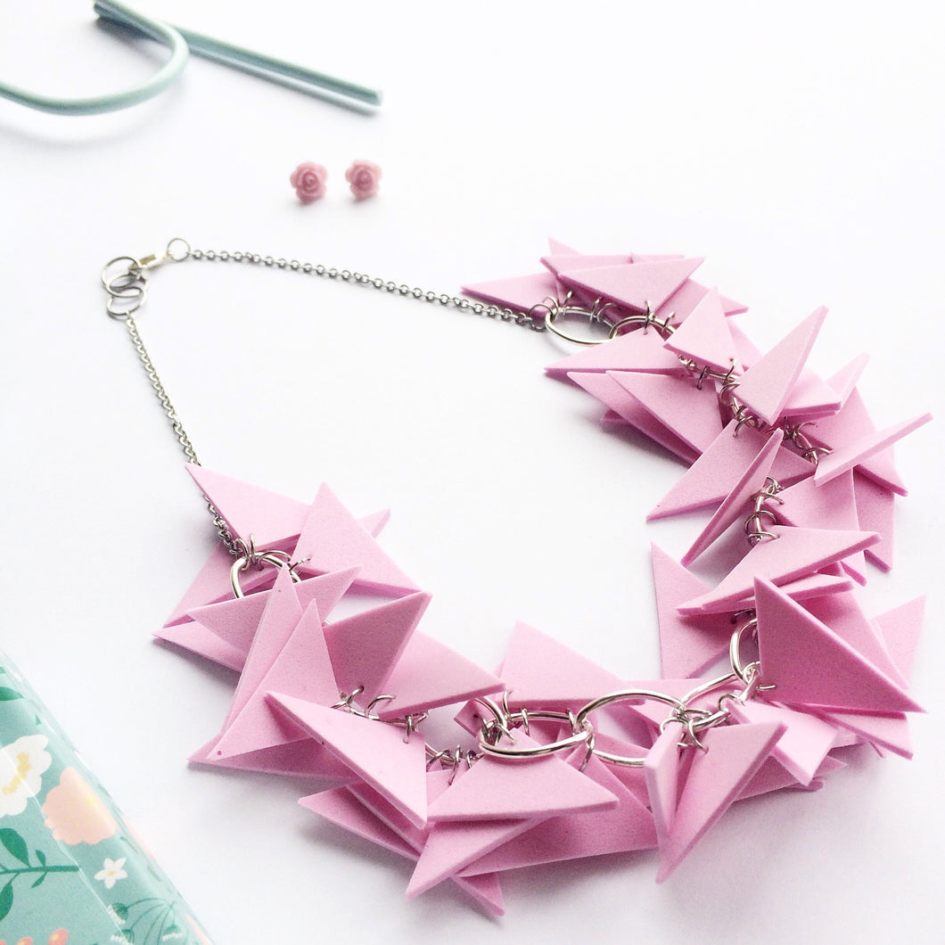 Triangles Necklace Light Weight and Soft with Earrings (Light Pink)