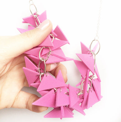 Dark Pink Triangles Necklace Light Weight