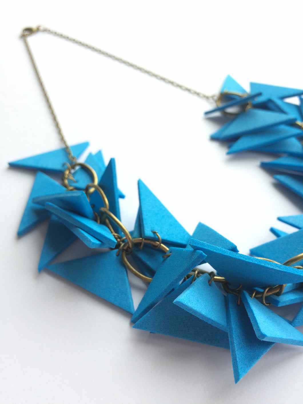 Blue Triangles Necklace Light Weight