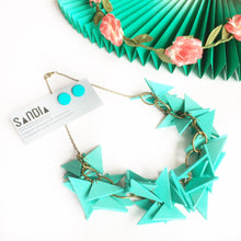 Triangles Necklace Light Weight Turquoise