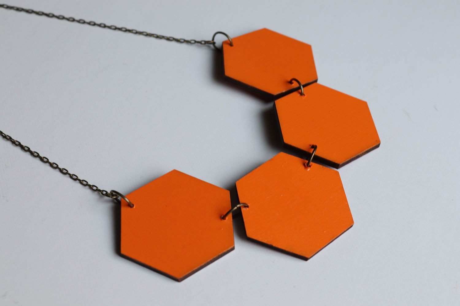 Hexagon Statement Necklace Orange (Reversible)