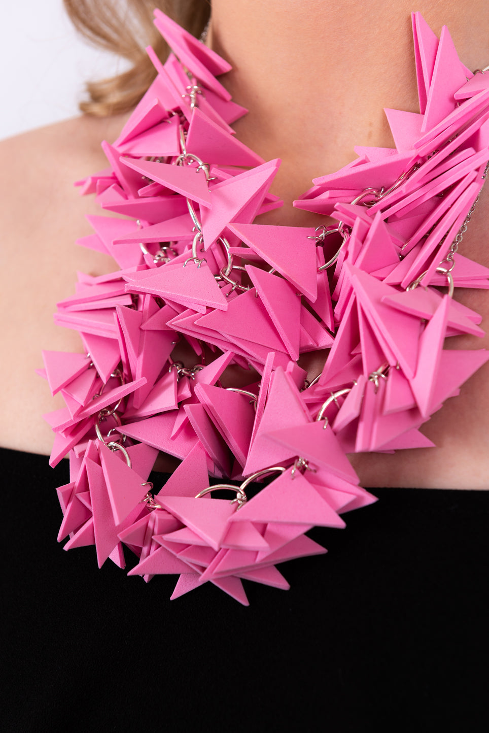 Pink Trio Extremely Light Weight Statement necklace